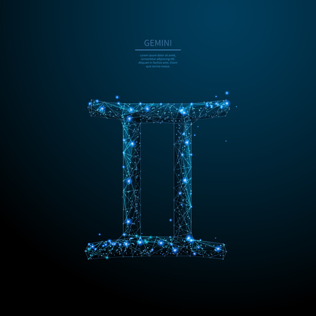 Gemini sign low poly wireframe poster template. Astrological calendar, horoscope. Ilustração