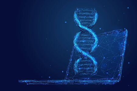 Genetic engineering low poly wireframe illustration. 3D DNA spiral and computer with connected dots. Polygonal biotechnology and medical technology mesh art. Double helix molecule, genetic analysis