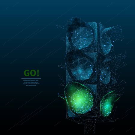 Green traffic light low poly wireframe banner template