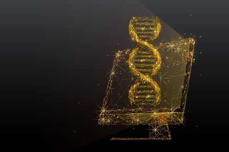 Biotechnology and genetic engineering low poly wireframe