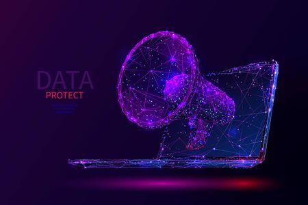 Purple digital marketing low poly wireframe Illustration