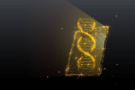 Genetic science, biotechnology low poly wireframe