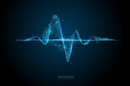 Sjabloon voor spandoek met geluidsgolf laag poly draadframe Vector Illustratie