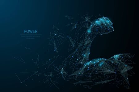 Human power low poly wireframe banner template  イラスト・ベクター素材