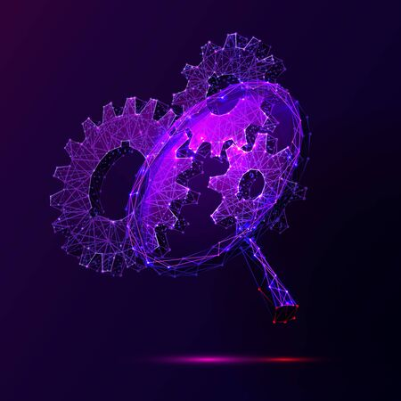 Cogwheels and magnifier low poly vector illustration. 3d gears on dark violet background. Polygonal magnifying glass mesh art with connected dots. Searching for solution, engineering idea metaphor Çizim