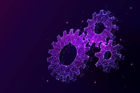 Cogwheels low poly vector illustration. 3d gears on dark violet background. Polygonal cogs, industrial manufacturing symbol mesh art with connected dots. Engineering idea, project strategy concept ..