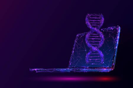 Purple genetic engineering low poly wireframe illustration. 3D DNA spiral and computer with connected dots. Polygonal biotechnology and medical technology mesh art. Double helix molecule, genetic