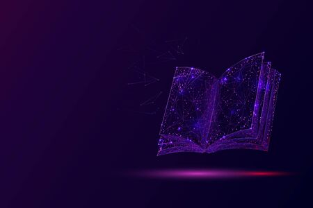 Open book low poly vector illustration. 3d encyclopedia. Polygonal textbook, dictionary. Education, information, knowledge metaphor mesh art with connected dots. Reading hobby concept .. Ilustração