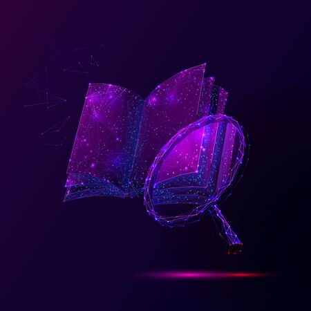 Book and magnifier low poly vector illustration. 3d magnifying glass near open encyclopedia. Polygonal textbook mesh art with connected dots. Information search, scientific research metaphor Ilustração