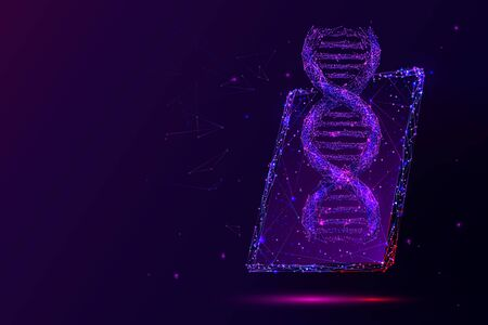 Genetic science, biotechnology low poly wireframe illustration. 3D PC tablet with DNA molecule on screen with connected dots. Purple polygonal online scientific laboratory mesh art Çizim