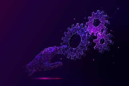 Violet Hand touching cogwheels low poly vector illustration. 3d gears on dark violet background. Polygonal palm with cogs, gears mechanism. Engineering idea, manufacturing symbol mesh art