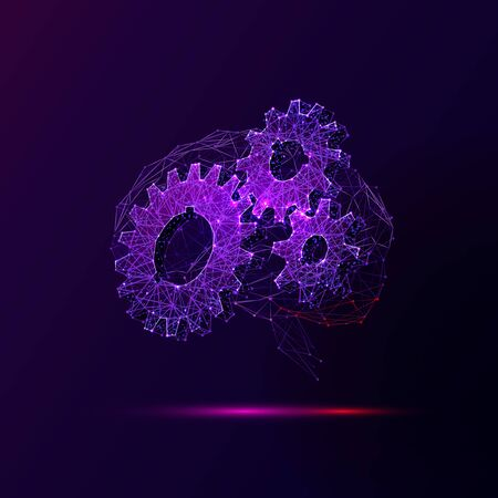 Brain and cogwheels low poly vector illustration. 3d cogs and gears, mechanism functioning concept. Polygonal brain mesh art with connected dots. Healthy mind, human thinking, psychology metaphor Çizim