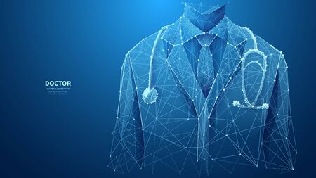 A closeup of a young doctor in medical lab coat with a stethoscope. Abstract vector low poly wireframe illustration with connected dots and polygonal shapes. Horizontal medical banner with copy space. 일러스트