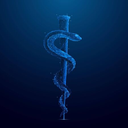 Rod of Asclepius. A serpent-entwined rod wielded. Vector low-poly wireframe illustration on dark blue background. Abstract medical template with connected dots and polygonal shapes.
