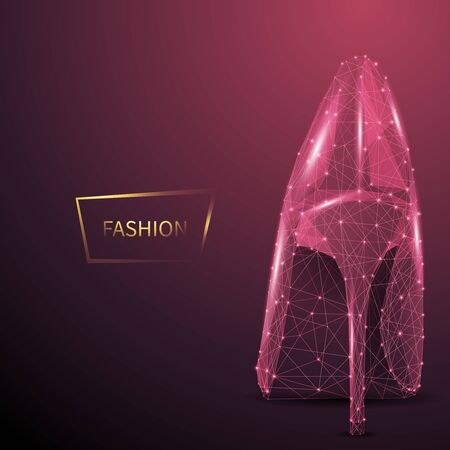 Fashion low poly wireframe vector banner template. Polygonal 3D female high heel. Footwear designer workshop, store mesh art illustration. Pink stiletto shoe connected dots with lines Ilustrace