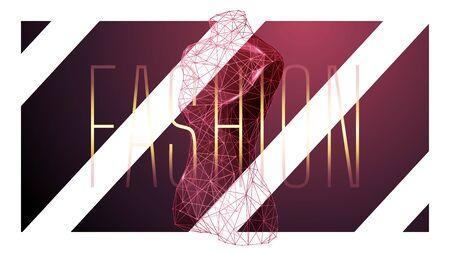 Fashion low poly wireframe banner template. Polygonal 3D female mannequin. Clothes designer workshop mesh art illustration. Dressmaker studio, tailor atelier. Connected dots with lines Ilustracja