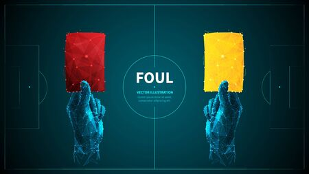 Soccer foul low poly wireframe vector banner template. Polygonal 3D referee hands holding red and yellow cards. Warning and disqualification. Football game rule illustration with connected dots