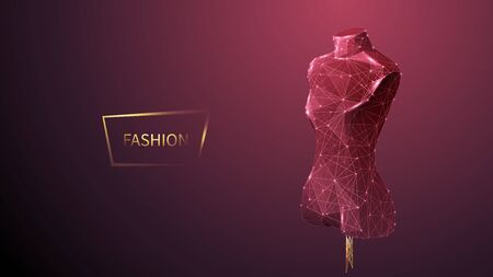 Fashion low poly wireframe vector banner template. Polygonal 3D mannequin. Clothes designer workshop, dressmaker atelier mesh art illustration. Fashionable boutique. Connected dots with lines Ilustracja