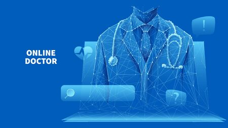 A doctor in a white lab coat with a stethoscope on the laptop screen.