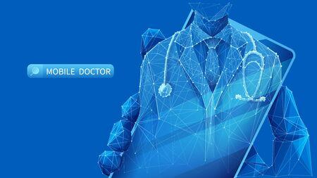 Mobiler Arzt. Ein junger Mann in einem Mantel mit einem Stethoskop auf dem Smartphone-Bildschirm.