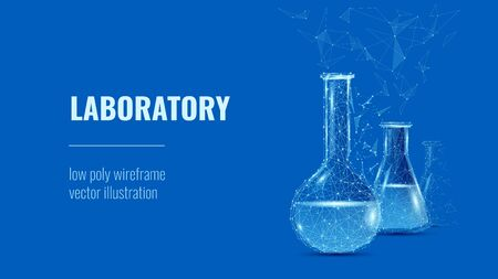 Laboratory. Lab glassware and test tubes in chemical or medical laboratory background or polygonal banner.