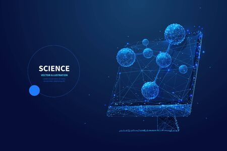 Futuristic science low poly wireframe banner vector template. Scientific research technology, biotechnology study poster polygonal design. Monitor with molecule model 3d mesh art with connected dots