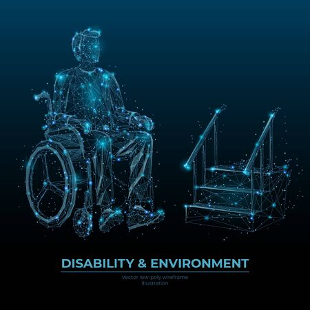 Disability and environment low poly wireframe banner vector template. Accessibility social media post polygonal design. Handicapped person in wheelchair 3d mesh art with connected dots