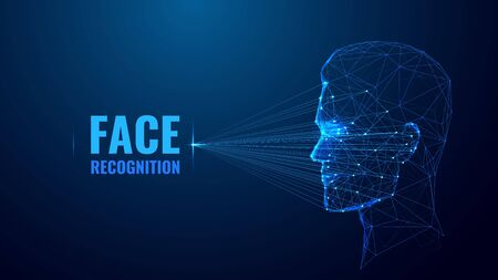 Face recognition low poly wireframe banner vector template.