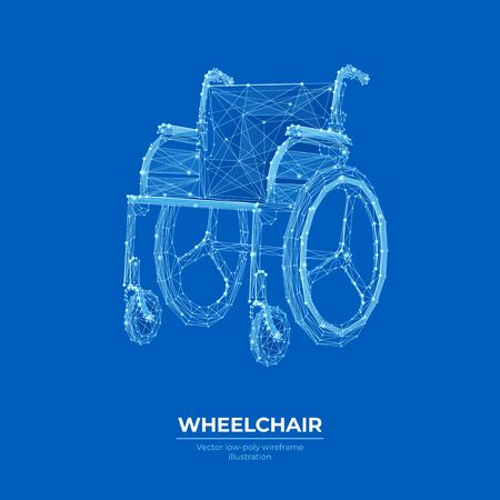 Wheelchair low poly wireframe banner vector template.