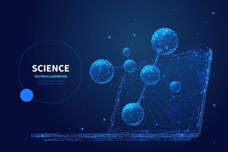 High tech science low poly wireframe banner vector template. Ilustracja