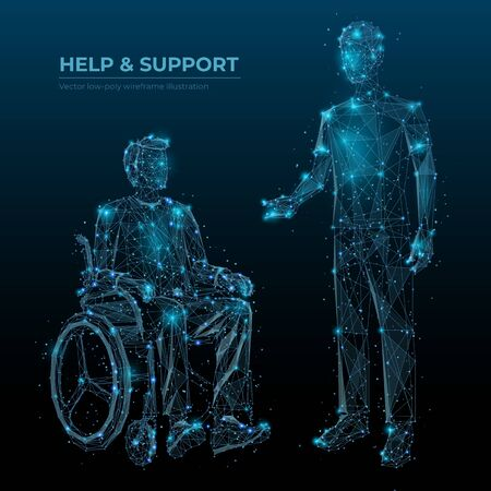 Help and support low poly wireframe banner vector template. Disabled people care social media post polygonal design. Invalid in wheelchair and caretaker 3d mesh art with connected dots