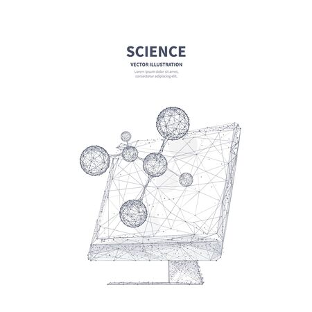 Isolated abstract monitor with molecule model 3d mesh art with connected dots on white background. Scientific research technology, biotechnology study poster polygonal design. Innovation science low poly wireframe banner vector template.