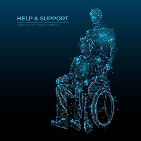 Abstract help and support low poly wireframe technology banner vector template. Disabled people care social media post polygonal digital design. Invalid in wheelchair and caretaker 3d mesh art with polygons and connected dots.