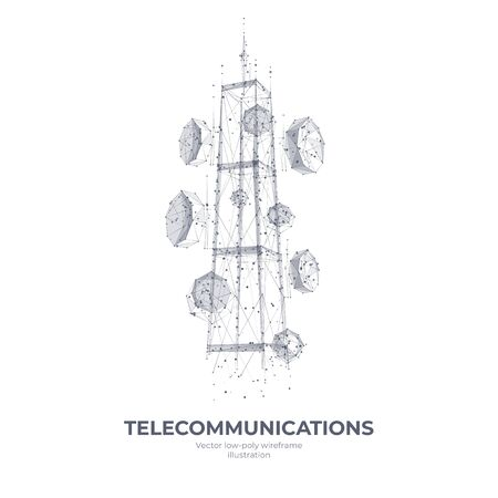 Abstract 3d isolated telecommunication antenna on white innovation technology background. Low poly wireframe digital graphic stock vector illustration.Polygons, lines, particles, and connected dots.Communication tower futuristic concept.
