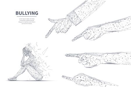 Online bullying concept. Young girl seats on floor in depression and other people touching fingers in her. Ilustracja
