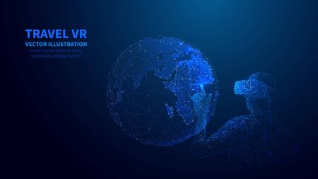 Abstract 3D isolated man in  VR headset touches innovation visual of Earth.