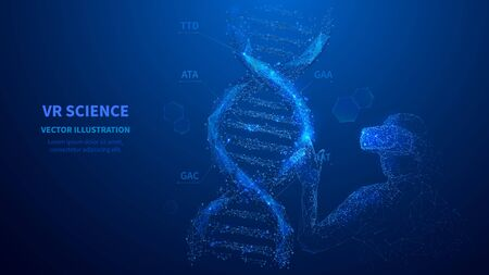 Abstract man in VR touching on DNA virtual model.