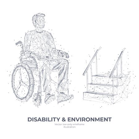 Polygons, connected dots. Isolated young disabled in wheelchair on white