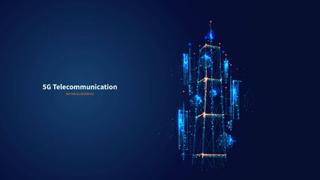 Blue abstract 3d isolated 5G antenna on innovation technology background. Low poly wireframe digital vector.Polygons and connected dots.Internet telecommunication tower futuristic concept.