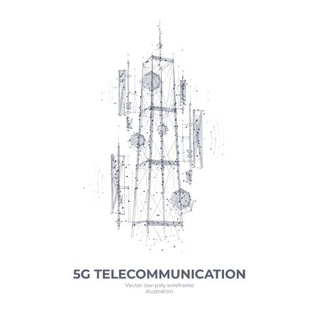 Abstract 3d isolated 5G antenna on white innovation technology background. Low poly wireframe digital graphic stock vector illustration.Polygons, lines, particles, and connected dots.Internet telecommunication tower futuristic concept.