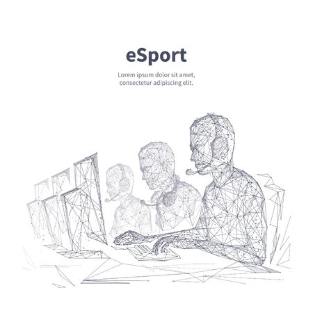 Esport low poly wireframe banner vector template. Multiplayer competition, video game tournament black and white poster polygonal design. Cybersport team 3d mesh art with connected dots
