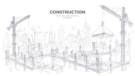 Construction site with building equipment isolated in white background. 3d working tower cranes in the city. Abstract polygonal concept of construction. Vector sketch illustration. Ilustracja