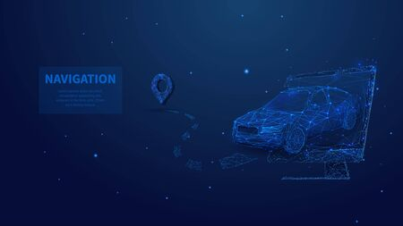 Low poly 3d car leaving from the screen in dark blue background. GPS navigation, location app, smart technology or travelling concept. Abstract vector illustration of car, phone and navigator pin Ilustracja