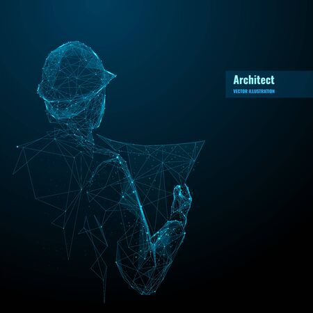 Engineer or architect in hard hat holding a blueprint. Abstract digital vector illustration in dark blue background. Polygonal wireframe with lines and dots. Construction concept.