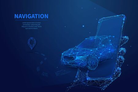 Polygonal 3d car leaving from the smartphone. GPS navigation, location app or travelling concept. Car, phone and navigator pin in dark blue background. Smart technology digital vector illustration Ilustracja