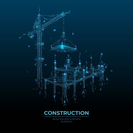 Abstract building process with construction equipment in dark blue background. Tower crane holding slab. Low poly wireframe looks like constellation. Vector illustration as a construction concept. Ilustracja