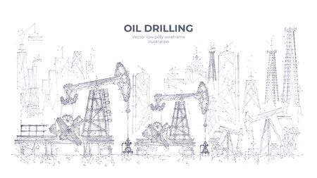 Natural resources mining equipment isolated in white background. Abstract polygonal panorama. 3d oil drilling rigs and pumpjacks. Vector sketch drawing. Oil industry concept Vektorgrafik