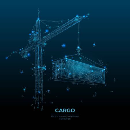 3d tower crane lifting a cargo container in dark blue background. Polygonal transportation or construction concept. Abstract machinery and equipment with lines and dots. Digital vector illustration Ilustracja