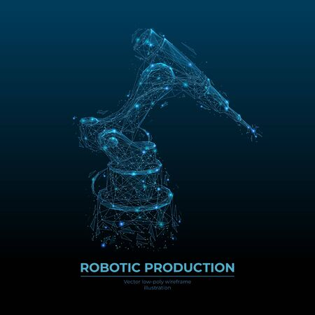 Abstract robotic tool. Low poly wireframe looks like constellation. Digital vector illustration with blue particles. Industrial technology concept. Ilustracja