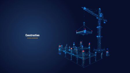 Building work process with construction equipment in dark blue background. High tower crane holding slab. Building construction concept. Abstract vector illustration. Low poly wireframe